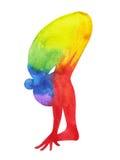 La posa di andata diritta di yoga della curvatura, 7 colora la pittura dell'acquerello di chakra illustrazione di stock