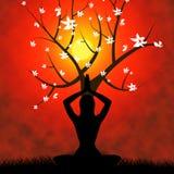 La posa di yoga mostra il benessere e la salute di esercizio Fotografie Stock