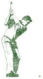 La pose d'oscillation de golf Photographie stock libre de droits