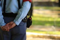 La posición del protector de seguridad en descanso Imágenes de archivo libres de regalías