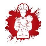 La position de cuisinier de chef a croisé des bras avec la casserole et la spatule Photographie stock