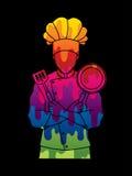 La position de cuisinier de chef a croisé des bras avec la casserole et la spatule Photo libre de droits