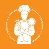 La position de cuisinier de chef a croisé des bras avec la casserole et la spatule Image stock