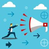 La position survivent L'homme d'affaires dissipent le cri d'un mégaphone géant Illustration d'affaires de concept illustration libre de droits
