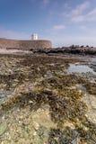 La posizione costiera intorno ai michaels della st monta in Cornovaglia Inghilterra Regno Unito Posta dell'allerta nel porto di M Immagini Stock Libere da Diritti