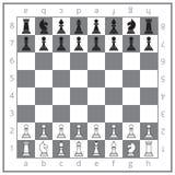 La posizione iniziale di scacchi Fotografie Stock Libere da Diritti