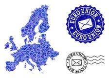 La posta dirige la composizione della mappa di mosaico di euro guarnizioni di emergenza e del sindacato royalty illustrazione gratis