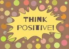 ¡La postal colorida con el texto piensa el positivo! Imágenes de archivo libres de regalías