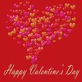 La postal del día de tarjetas del día de San Valentín hincha el fondo rojo Fotos de archivo libres de regalías