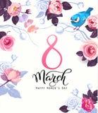 La postal feliz del día del ` s de las mujeres, la invitación del partido o la plantilla festiva de la bandera con las letras ele stock de ilustración