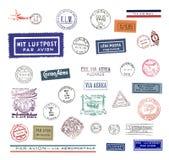 La poste aérienne de cru étiquette et estampe Photos libres de droits