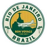 La poste aérienne ou timbre de voyage, Rio de Janeiro, thème du Brésil illustration stock