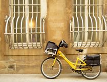La poste bike. New bike of the mail service of France, la poste, in the street of Avignon, Provence Stock Photo