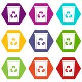 La poubelle avec réutilisent le hexahedron réglé de couleur d'icône de symbole Images stock
