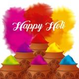 La poudre heureuse de couleur de holi a décoré l'affiche Images libres de droits
