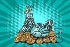 La poule incube le bitcoin d'argent électronique Images stock