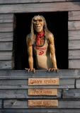 La poupée craintive en bois collent la fenêtre Image libre de droits