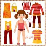 La poupée de papier avec un ensemble de mode vêtx. Gir mignon Image stock