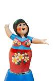 La poupée de plâtre de la fille thaïlandaise est sourire d'isolement sur le fond blanc Image libre de droits