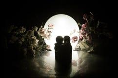 La poupée deux étreignant sur la table avec les fleurs et la décoration de lune a allumé le fond avec de la fumée Concept d'amour Image libre de droits
