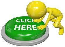 La poussée de personne CLIQUETTENT ICI le bouton de tige de site Web Images stock