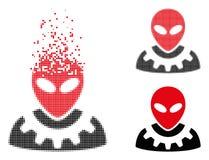 La poussière Dot Halftone Alien Engineer Icon illustration libre de droits