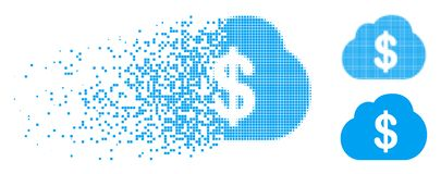 La poussière Dot Halftone Financial Cloud Icon illustration stock