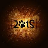 La poussière lumineuse d'or sur un fond noir Trace du chien Bonne année 2018 Couverture pour le calendrier Illustration de vecteu Photos stock
