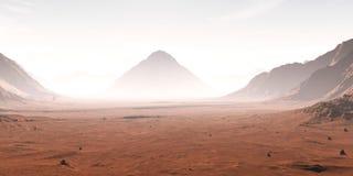 La poussière a obscurci le paysage martien Photos stock