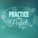 La práctica hace el más perfest. El poner letras. Imagenes de archivo