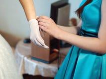 La préparation de la mariée Photographie stock libre de droits