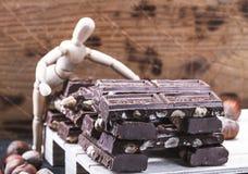 La pr?sentation Presentig de maquette une production et emballage d'un chocolat images libres de droits