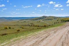 La pradera y el camino unsurfaced Fotografía de archivo libre de regalías