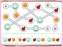 La pratica interroga il foglio di lavoro per istruzione e la prova di quoziente d'intelligenza illustrazione vettoriale