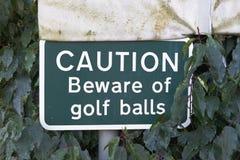 La precaución se guarda de muestra de las pelotas de golf en el seto en el club del verde del curso imagen de archivo libre de regalías