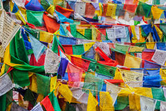 La preghiera di buddismo tibetano inbandiera il lungta Fotografia Stock