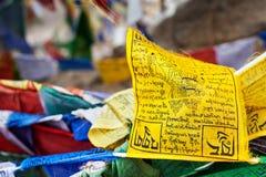 La preghiera di buddismo tibetano inbandiera il lungta Fotografie Stock Libere da Diritti