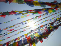 La preghiera inbandiera il Nepal Kathamandu Fotografia Stock Libera da Diritti