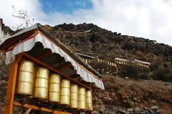 La preghiera spinge dentro il Tibet Fotografie Stock Libere da Diritti