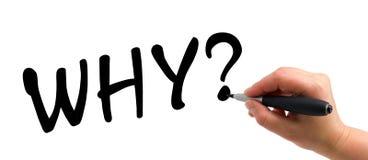 La pregunta del gráfico de la mano PORQUÉ Imagen de archivo libre de regalías