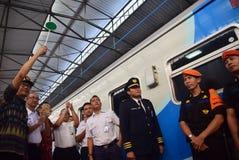 La première du voyage de train rapide d'Ambarawa image stock