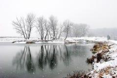 La première neige de l'hiver Photographie stock