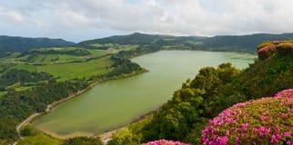 La première vue sur le lac Furnas, Açores Image libre de droits