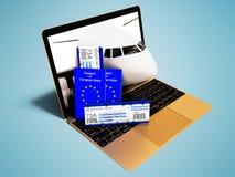 La prenotazione moderna del biglietto di aria di concetto tramite il computer portatile per le vacanze estive con due passaporti  royalty illustrazione gratis