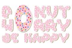 La preocupación rosada del buñuelo sea feliz imagen de archivo libre de regalías