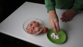La preparación pica para las albóndigas almacen de video