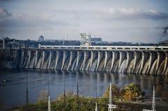 La presa en el río de Dnieper foto de archivo libre de regalías