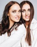 La presentación de la muchacha de dos gemelos de las hermanas, haciendo el selfie de la foto, vistió la camisa blanca, amigos div Imágenes de archivo libres de regalías