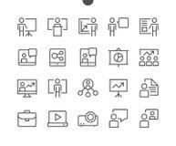 La presentación del negocio resumió el pixel que el vector Bien-hecho a mano perfecto alinea ligeramente los iconos 48x48 listos  Fotografía de archivo libre de regalías
