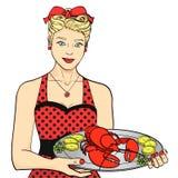La presentadora, cocinero, camarero en rojo sirve la comida La mujer está presentando la langosta en una bandeja Objeto aislado e libre illustration